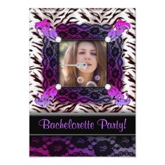Bachelorette Party Zebra Jewelry Photo Invite Purp