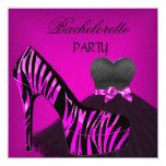 Bachelorette Party Zebra Pink Black Dress Invite