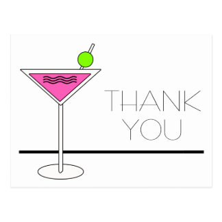 Bachelorette Pink Martini Cocktail Party Thank You Postcard
