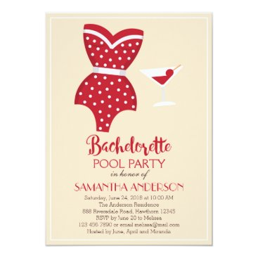 ApplePaperie Bachelorette Pool Party Invitation, Beach party Card