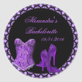 Bachelorette Purple Black Lace Corset Shoes Classic Round Sticker