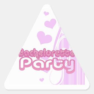 bachelorette púrpura rosado que casa la diversión pegatina triangular