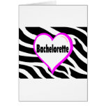 Bachelorette (rayas de la cebra del corazón) tarjetón