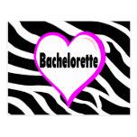 Bachelorette (rayas de la cebra del corazón) postales