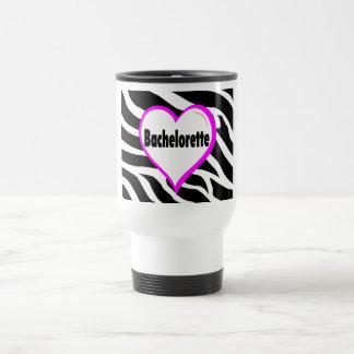 Bachelorette (rayas de la cebra del corazón) taza de viaje de acero inoxidable