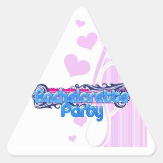 bachelorette rosado azul que casa el fiesta de pegatina triangular