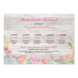 Bachelorette Rustic Bridal Shower Itinerary Coral Card