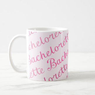 Bachelorette Script Diagonal Repeat Pattern Pinks Coffee Mug