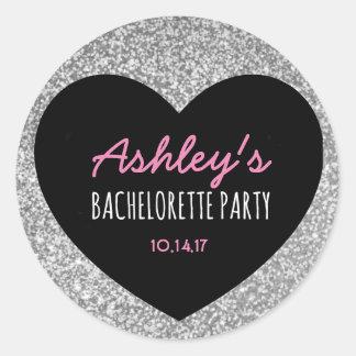 Bachelorette | Silver Glitter | Heart | Sticker