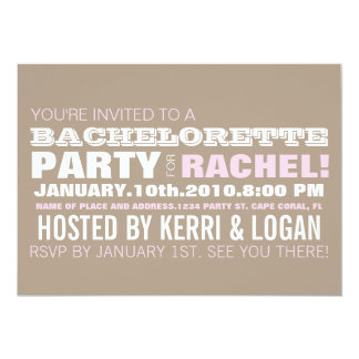 BACHELORETTE TYPOGRAPHY PINK PERSONALIZED INVITATIONS