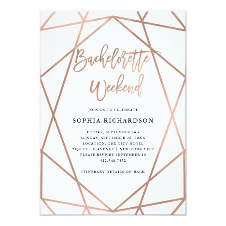 Bachelorette Weekend | Faux Rose Gold Geometric Invitation