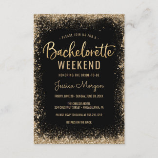 Bachelorette Weekend Itinerary Black Gold Frame Invitation
