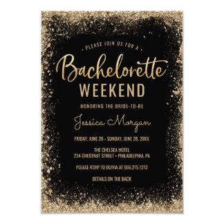 Bachelorette Weekend Itinerary Black Gold Frame Invitation