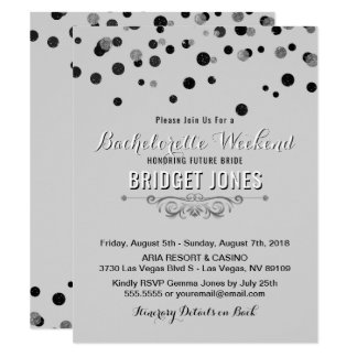 Bachelorette Weekend Itinerary Black Silver Gray Card