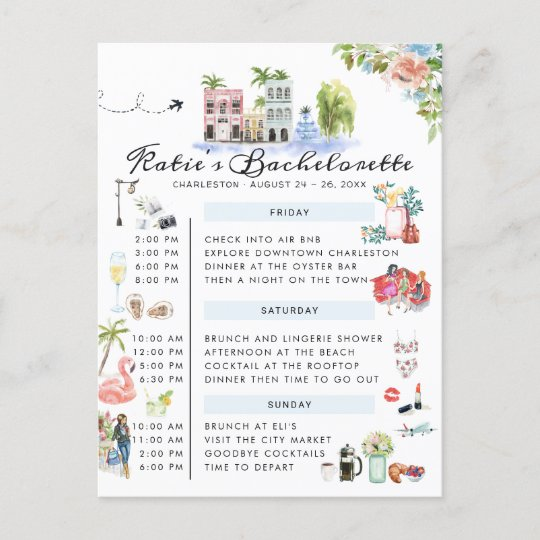 Bachelorette Weekend Itinerary | Charleston, SC Invitation Postcard