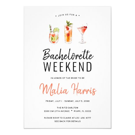 Bachelorette Weekend Itinerary Cocktail Drinks Invitation