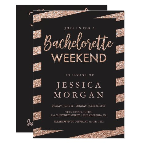 Bachelorette Weekend Itinerary Glitter Stripes Invitation