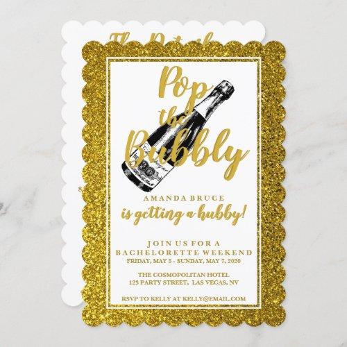 Bachelorette Weekend Itinerary Gold Glitter Invitation