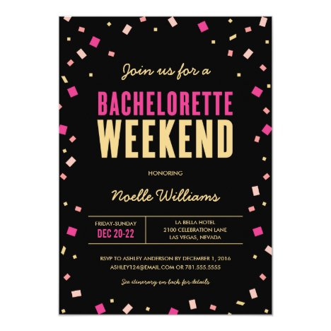 Bachelorette Weekend Itinerary Invitation
