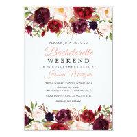 Bachelorette Weekend Itinerary Marsala Invitation