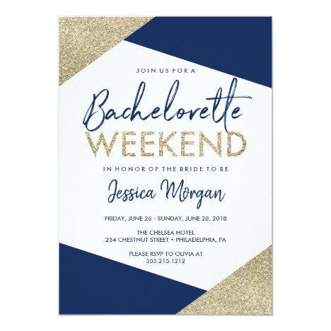 Bachelorette Weekend Itinerary Navy Invitation