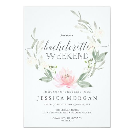 Bachelorette Weekend Itinerary Pastel Blush Invitation