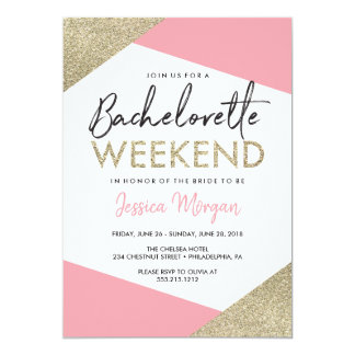 Bachelorette Weekend Itinerary Pink and Gold Invitation