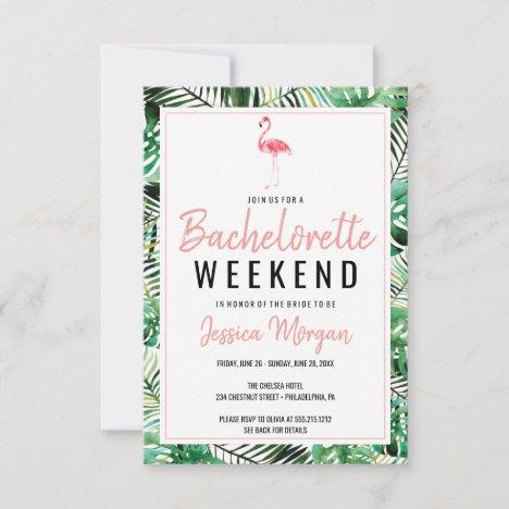 Bachelorette Weekend Itinerary Tropical Flamingo Invitation