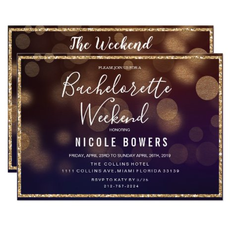Bachelorette Weekend Lights Invitation
