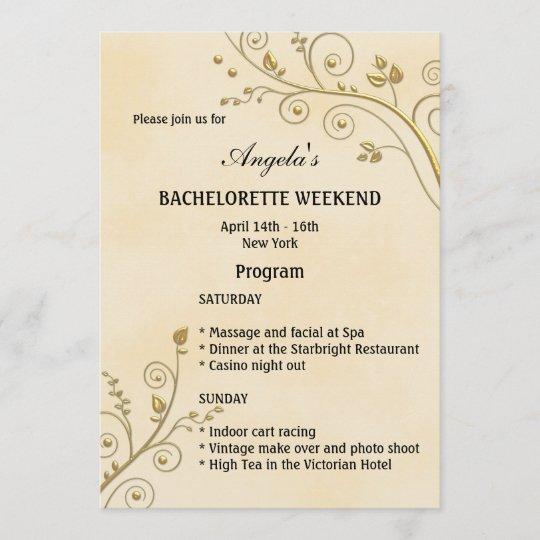 bachelorette weekend program template invitation zazzle com