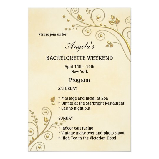 Bachelorette Weekend Program Template Invitation Zazzlecom