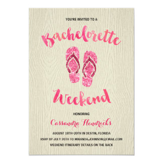 Bachelorette Weekend with Pink Faux Glitter Card