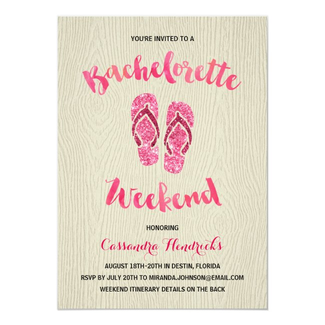 Bachelorette Weekend with Pink Faux Glitter Invitation