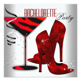 Bachelorette White Red High Heel Shoes Card
