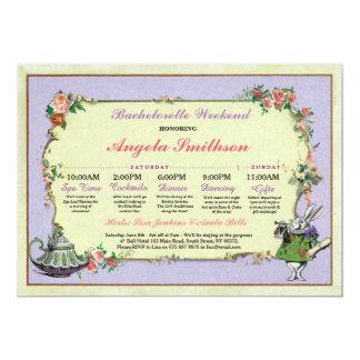 Bachelorette Wonderland Rabbit Lime Itinerary Plan Card
