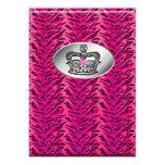 """Bachelorette Zebra Jewelry Crown Party Invite Pink 5"""" X 7"""" Invitation Card"""