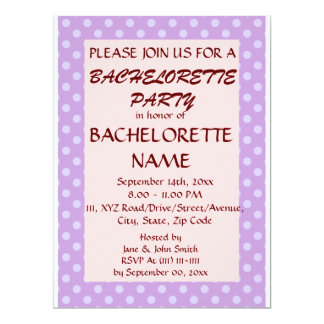 BacheloretteParty-Violet Polka Dots,PinkBackground 6.5x8.75 Paper Invitation Card