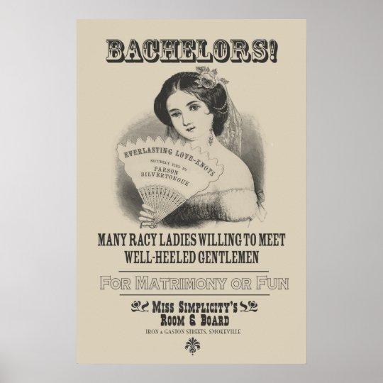 Bachelors! Advertisement poster