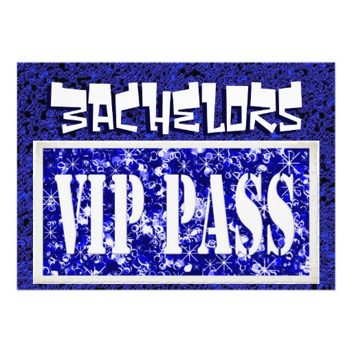 Bachelors blue vip party invitation