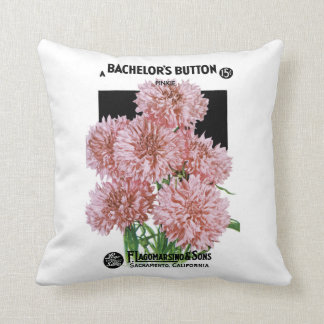 Bachelors Buttons Seed Packet Label Throw Pillow