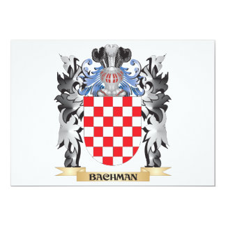 Bachman Coat of Arms - Family Crest 5x7 Paper Invitation Card
