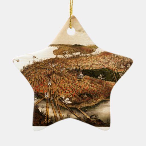 Bachmann's map of Boston (1877) Double-Sided Star Ceramic Christmas Ornament