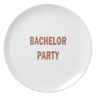 BACHOLER PARTY: Engagement, Wedding, Honeymoon Melamine Plate