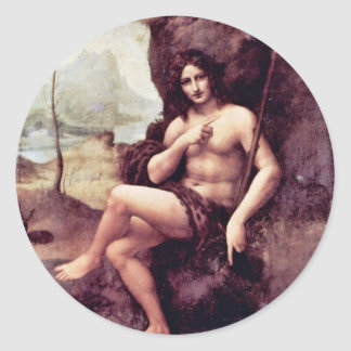 Bachus By Leonardo Da Vinci (Best Quality) Classic Round Sticker