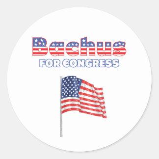 Bachus for Congress Patriotic American Flag Design Classic Round Sticker