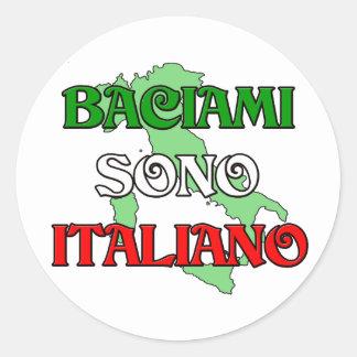 Baciami Italiano (béseme que soy italiano) Pegatina Redonda