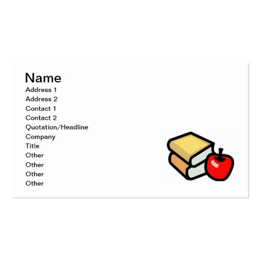 BACK 2 SCHOOL RED APPLE BOOKS EDUCATION PRIMARY EL BUSINESS CARD TEMPLATE