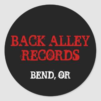 BACK ALLEY RECORDS, BEND, OR CLASSIC ROUND STICKER