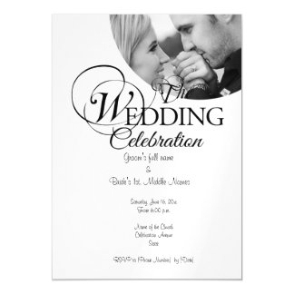 Back and white magnetic wedding invitations