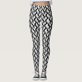 Back and White Maze Pattern Leggings